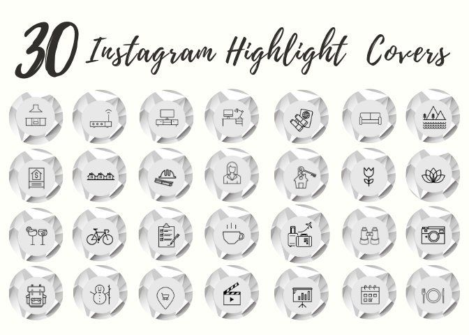 30 Instagram Story Highlight Icons - White Marble Icon Covers for