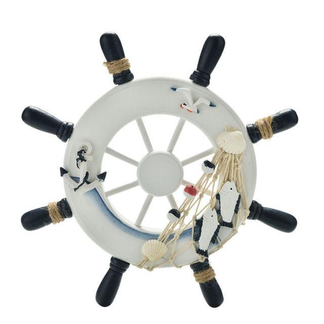 """23 cm 9 """"Praia Barco De Madeira Rede De Pesca Casa Decorações de Parede Náutico roda Do Leme Do Navio Embarcações De Madeira Dom Casa decoração"""