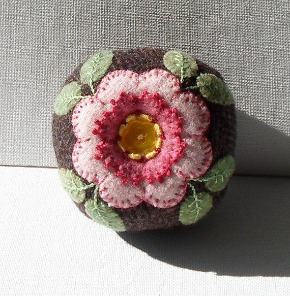 Handmade Pin Cushion Felted Wool Wild Rose