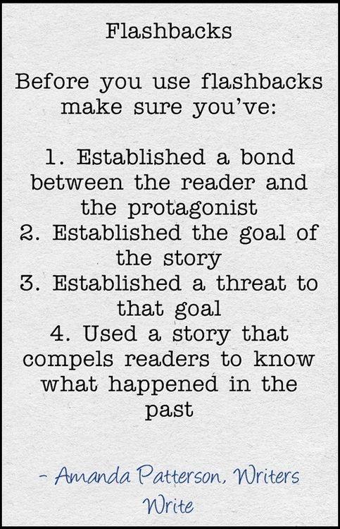 Helpful tips on how to write flashbacks.