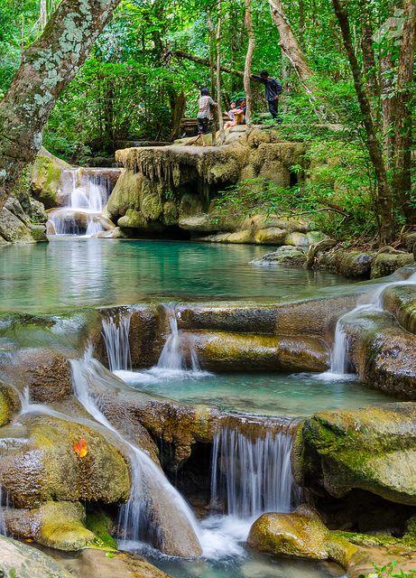 Erawan Waterfalls Park in western Thailand