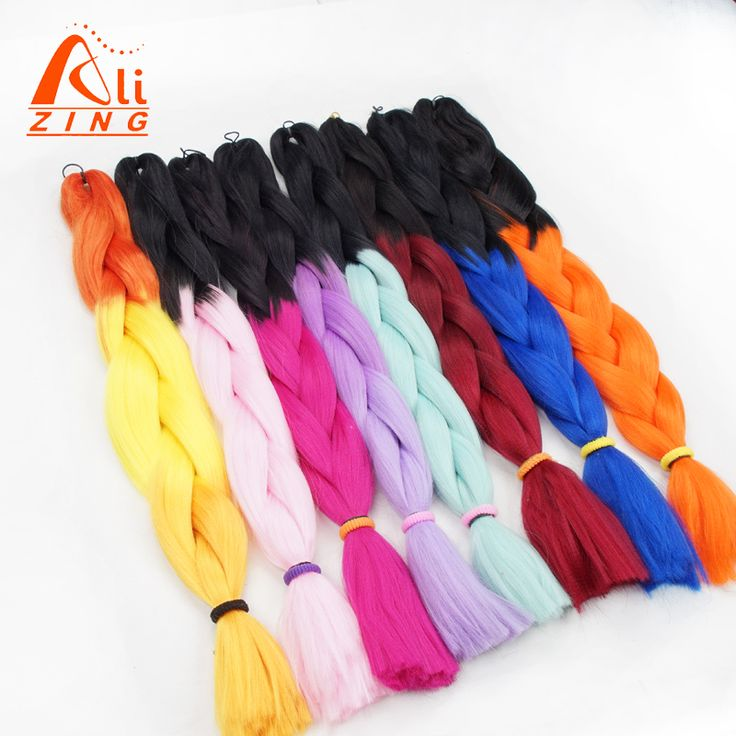 alizing hair 24Inch Ombre Two Tone  Jumbo Braiding Hair synthetic afro Expression braid Hair Extension