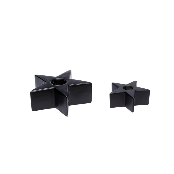 Black star porcelain candlestick in a set of 2. Product number: 640321 - Designed by Hübsch