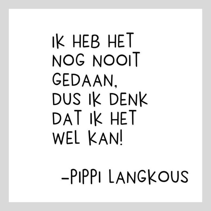 Kaart Pippi  Langkous Kaartje met tekst Ik heb het nog nooit gedaan. Dus ik denk dat ik het wel kan! Wit vierkant woonkaartje 10,5 x 10,5cm. quote