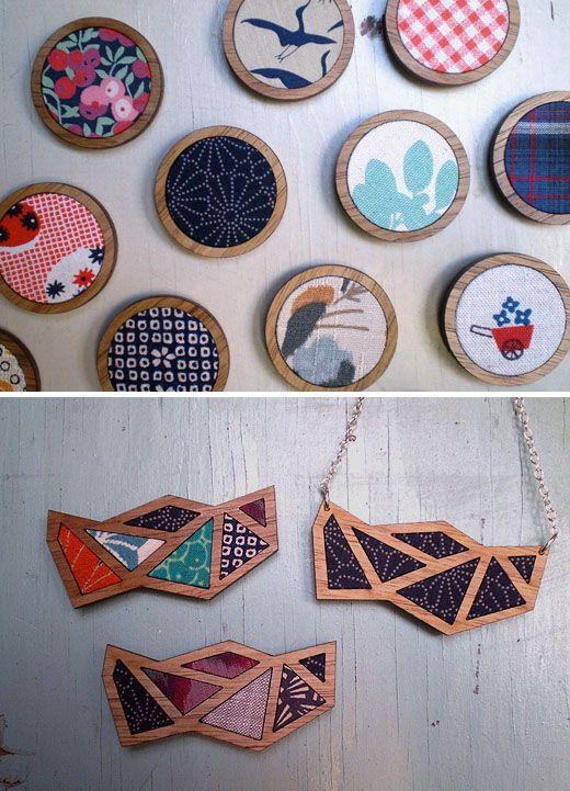 wood & fabric jewellery