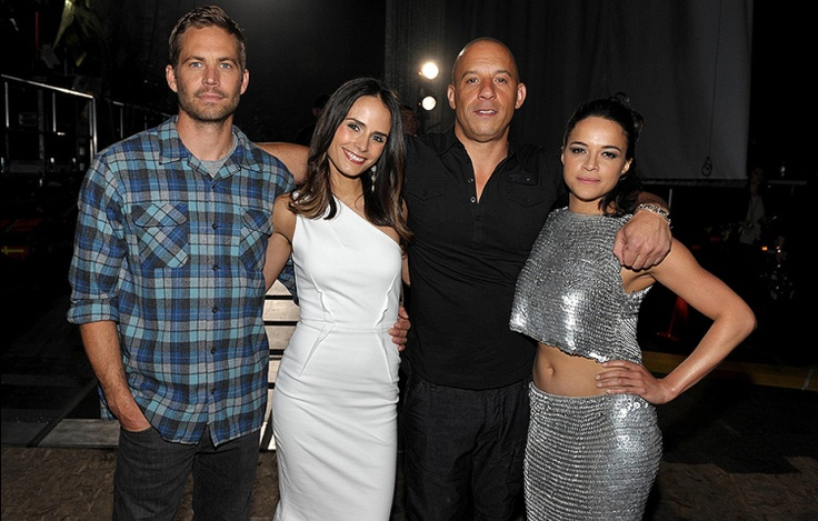 The cast of the The Fast and the Furious Paul Walker, Jordana Brewster, Vin Diesel and Michelle Rodriguez pose at the 2013 MTV Movie Awards in Los Angeles. | MTV Photo Gallery