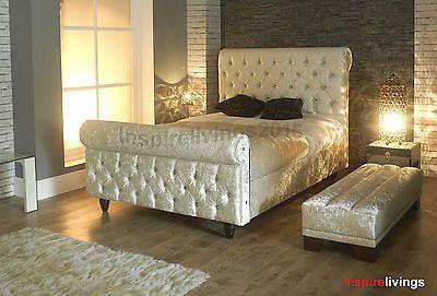 Scroll Crushed Velvet Fabric Chesterfield Upholstered Sleigh Storage Bed Frame