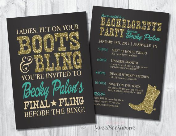 Country Western Bachelorette Party Invitation Boots Bling Invite Saloon Cowgirl