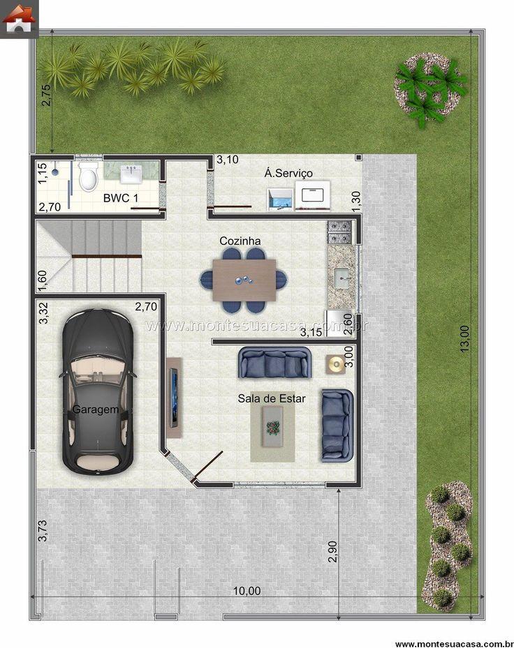 Planta de Sobrado - 3 Quartos - 95.16m² - Monte Sua Casa