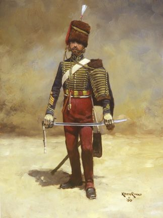 """British 11th Hussar-Crimea.  Keith Rocco.  This painting depicts a Troop Sergeant Major of the 11th Hussars during the Crimean War. The 11th was designated by Queen Victoria in 1840 as 'Prince Albert's Own'. The regiment's uniform was distinctive among other hussar regiments by its crimson (or 'cherry') colored trousers which gave rise to its nicknames; """"The Cherrypickers"""" and """"the Cherubums""""."""