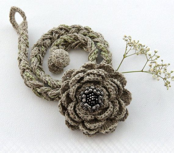 Hand Crochet Braided Natural Linen Necklace by CraftsbySigita, $24.00