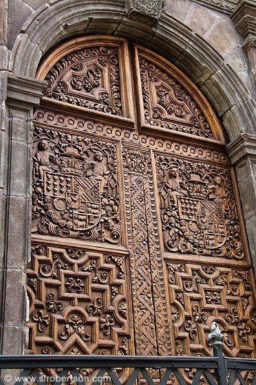 Carved wooden doors in Quito, Ecuador