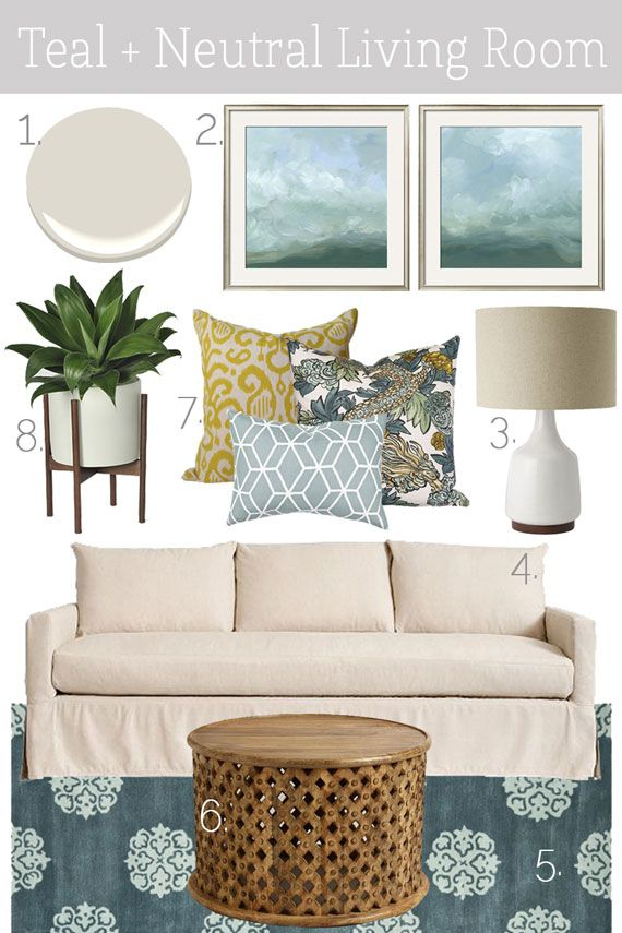 Mood Board Teal Neutral Living Room