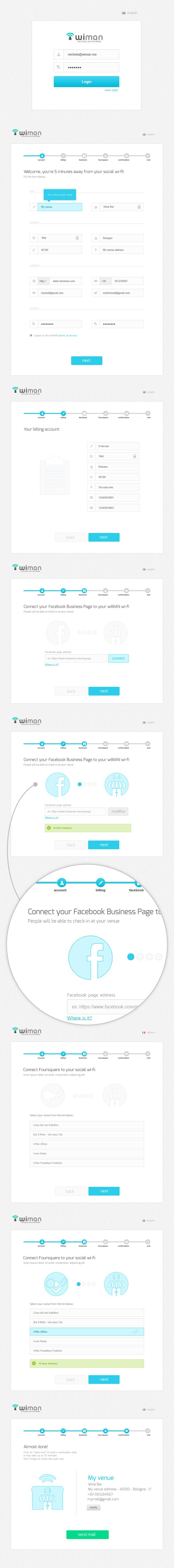 #form #wizard #register Wiman registration wizard by Alessio De Feudis, via Behance
