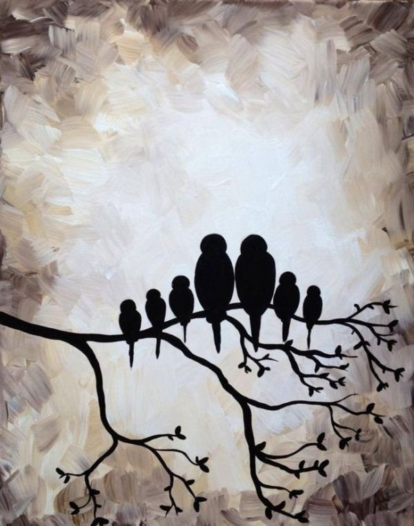 Black And White Painting Ideas On Canvas Love Birds Painting Art Painting Art