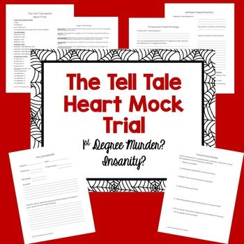 "GREAT for HALLOWEEN!!! Students will use close reading skills and cite text evidence to prove their case in this ""Tell Tale Heart"" Mock Trial. Students will read the short story ""The Tell Tale Heart"" by Edgar Allan Poe. Then students will view a short mock trial procedure video."