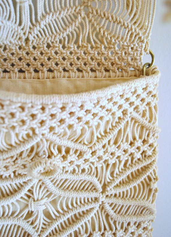 60s macrame bag // off white fringe macrame // by onefortynine, $41.00