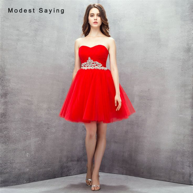 Find More Cocktail Dresses Information about Sexy Red Ball Gown Sweetheart Mini Pleat Beaded Cocktail Dresses 2017 with Rhinestone Formal Short Prom Gowns vestidos de coctel,High Quality Cocktail Dresses from modest saying Lacebridal Store on Aliexpress.com