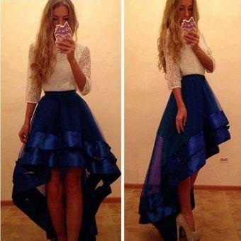 Yucheer Vestido con Falda Plisada para Mujer - Azul con Blanco