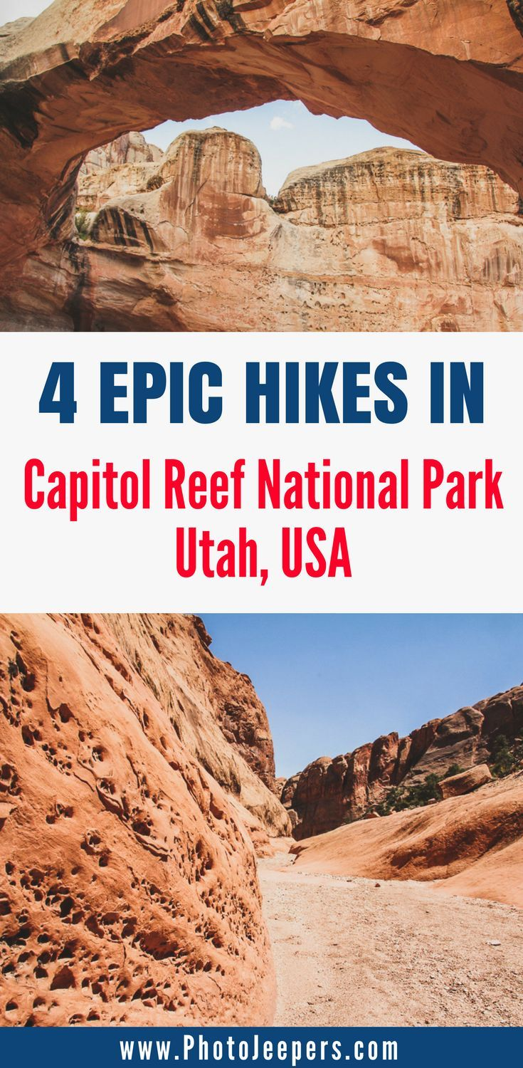 Capitol Reef National Park is a beautiful national park in Utah that most people miss. We want to show you all of the beautiful hikes in Capitol Reef National Park, things to do in Capitol Reef National Park, and hiking tips for hot weather. Make sure you save these hiking tips for Utah to your travel board so you can find it later. #capitolreef #capitolreefnationalpark #utahnationalpark