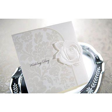 Elegant Embossed White Rose Tri-fold Wedding Invitation (Set of 50) – USD $ 39.99