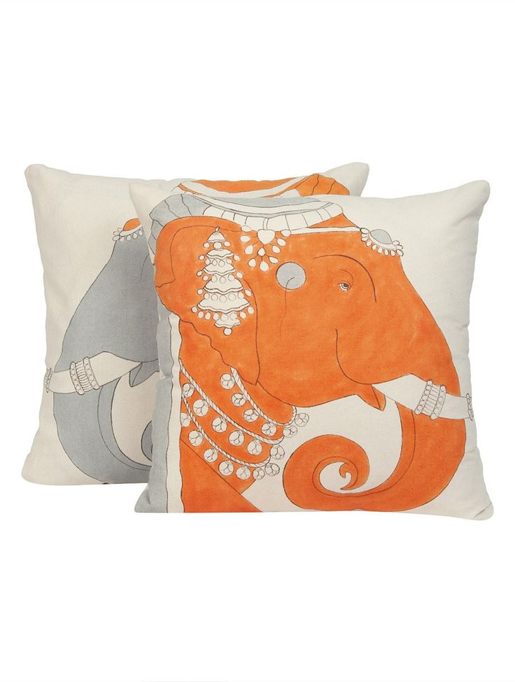 Buy Orange Grey Red Blue Organic Loom Cotton Elephant Hand Painted Cushion Cover (Set of 2) by Studio Kishangarh 16in x Home Accents Decor The Elegant Handpainted Covers Inspired Traditional Arts Online at Jaypore.com