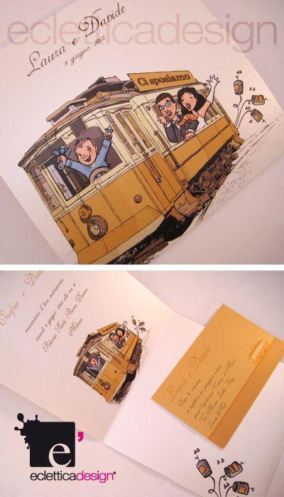 Partecipazioni di matrimonio Envelope Tram