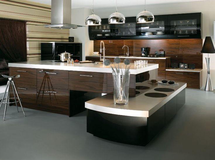 meubles de cuisine en bois marron fonc blanc laqu et noir corbeau suspension originale