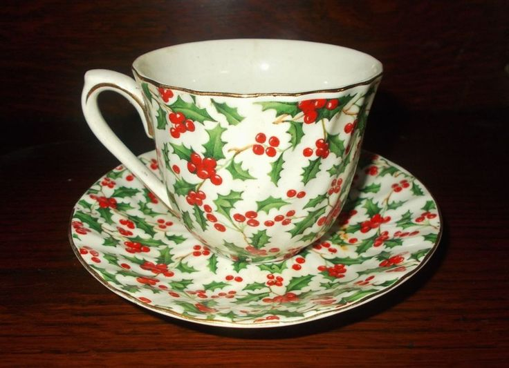 Chintz Holly Tea Cup and Saucer Set #THTDesigns