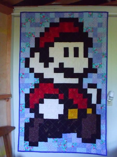 8-bit Mario Quilt - This is my crafty goal.Years Ago, Quilt Projects, Crafty Goals, 01 Quilt, Quilting Projects, 1 2 Years, 8 Bit Mario, Projects Inspiration, Mario Quilt