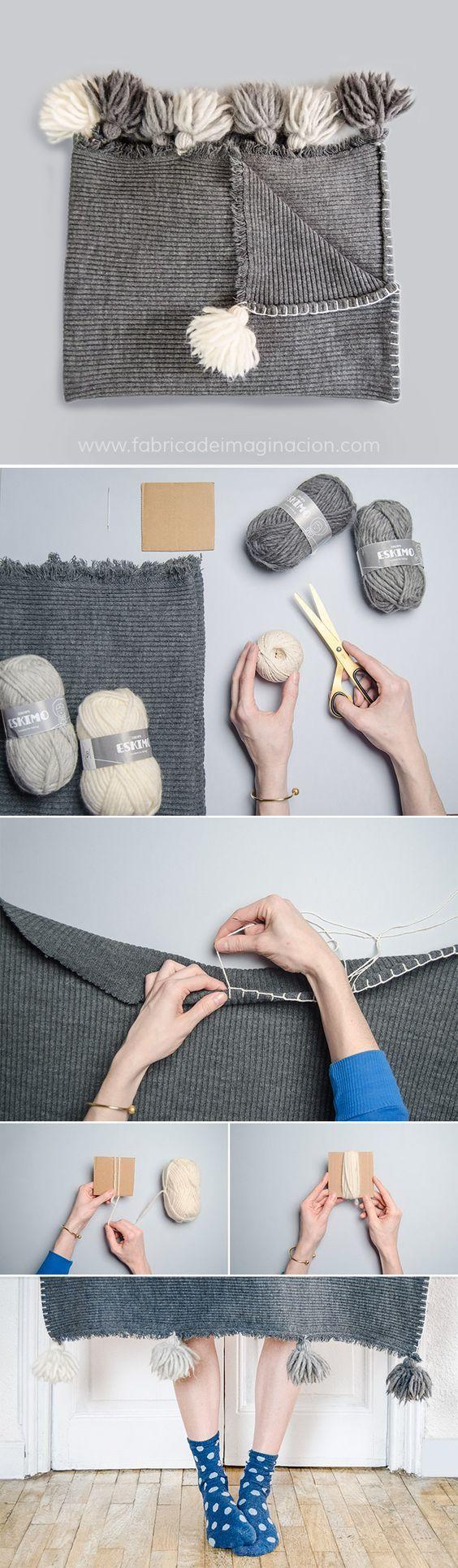 DIY Tassel blanket · DIY Manta con borlas · Fábrica de Imaginación · Steps in Spanish: