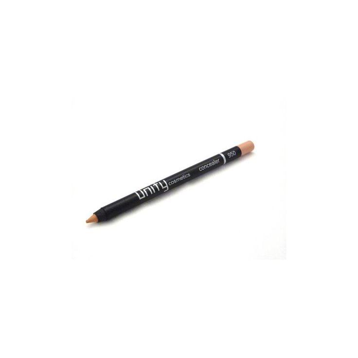 Unity Cosmetics Concealer 950 Tanned  Potlood met concealer. Stevige pigmentatie en daardoor ideaal om vlekjes bij te werken in het gezicht en/of de hals. Als het potlood lichter is dan je huid kun je het potlood gebruikenals highlighter om bepaalde delen van je gezicht te accentueren of om donkere kringen onder de ogen te verdoezelen. Het potlood kan geslepen worden met een make-up puntenslijper. De concealer bevat Vitamine E die de huid verzacht en titanium dioxide dat de huid beschermt…