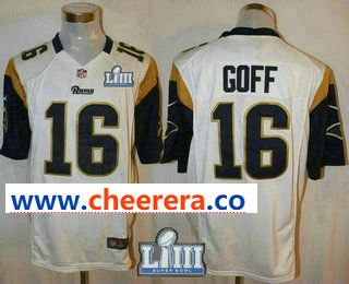 27bc195b7000b Men's Los Angeles Rams #16 Jared Goff White 2019 Super Bowl LIII Patch Road  NFL Nike Game Jersey