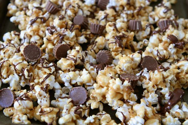Reese's Peanut Butter Popcorn Recipe on twopeasandtheirpod.com Great for snacking or gift giving!