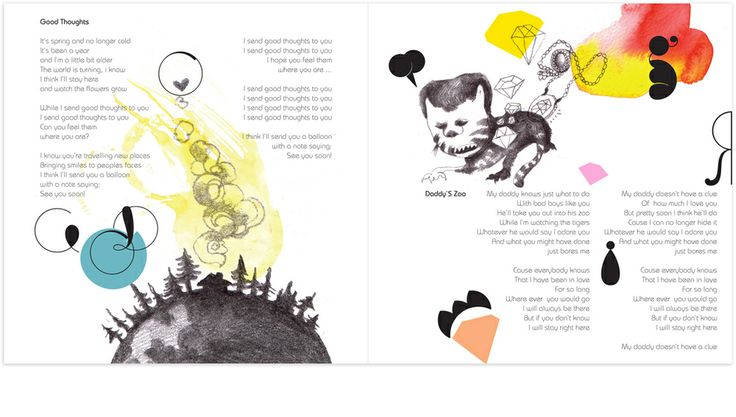 Illustration for tracks: 'Good Thoughts' and 'Daddy´s Zoo' Album: Friendly Fools by Marjit Vinjerui