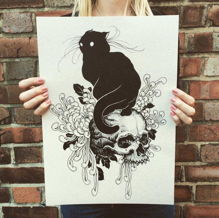 tattoos tattooed draw drawing ink inked neo traditional neotraditional traditional cat skull chrysanthemum