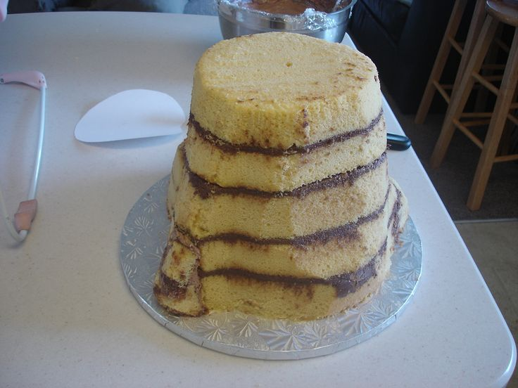 Picture how to make a tree stump cake