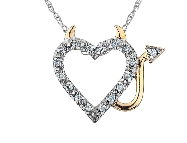 Diamond Devil Heart Pendant Necklace in Sterling Silver with Yellow Gold with Chain - My Jewelry Box