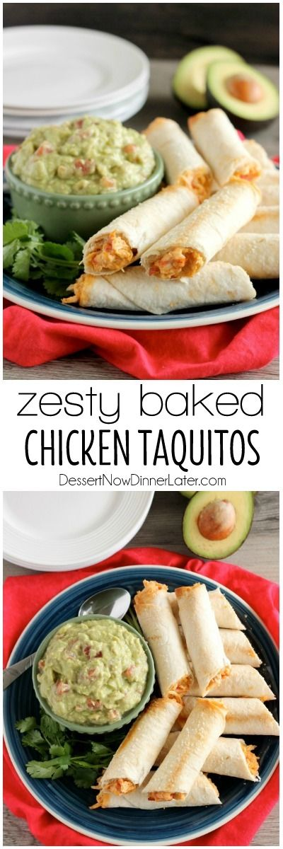 These Zesty Baked Chicken Taquitos are creamy and cheesy with a special ingredient to make them bold and zesty! A simple guacamole recipe is also included! on MyRecipeMagic.com #JustAddRotel #ad #CollectiveBias