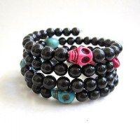 #Day of the Dead bracelet #fashion #bracelets #black #halloween #lindatoyehelsinki