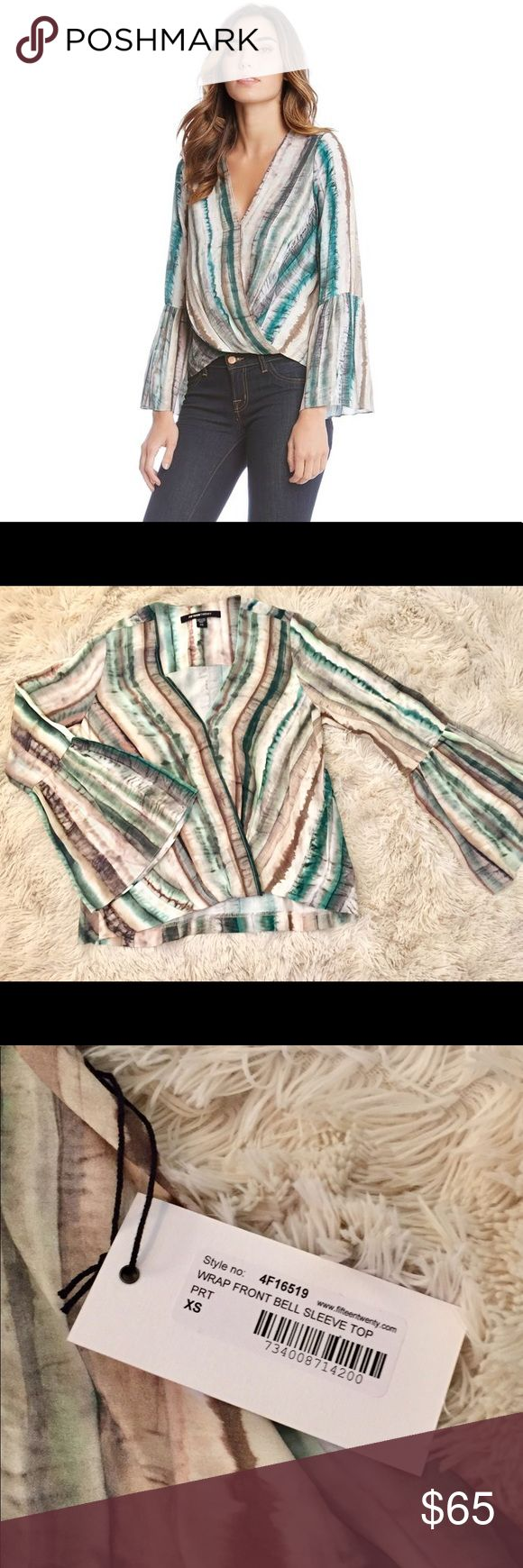 FIFTEEN TWENTY Wrap Front Bell Sleeve Top Designed with a faux-wrap front, this stripe print top features fluttery bell sleeves. Fifteen Twenty Tops Blouses