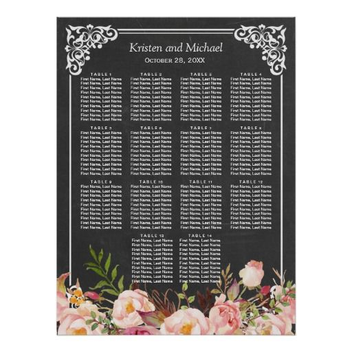 Chalkboard Vintage Floral Wedding Seating Chart Poster