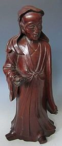 Escultura de madera china antigua de la Sage Académico