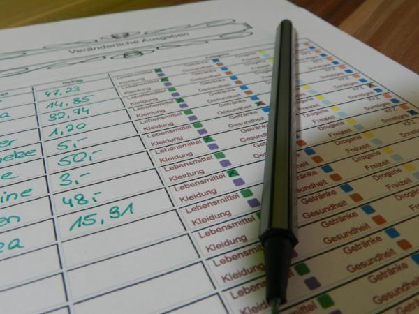 Mit diesem Formular kannst du ein Haushaltsbuch führen und so immer den Überblick über deine Finanzen behalten.