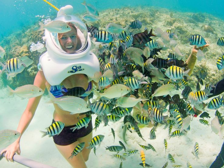 Sea Trek scuba diving helmet in Xcaret park near Cancun.