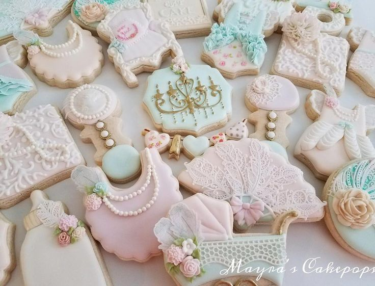best cookies shabby chic images on   decorated, Baby shower invitation
