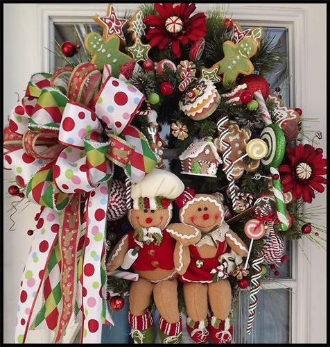 Furniture and Accessories. Cute Adorable Colorful Front Door Fresh Natural Wreath Decoration