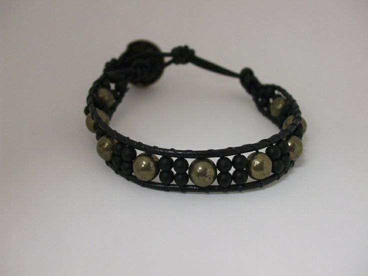 Unisex Leather Wrap Bracelet with matte onyx and pyrite beads. Email uniquecreations@cogeco.ca for info