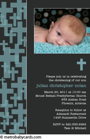 Photo Baptism/Christening Invitations :: Retro Cross Blue Design