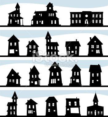 Maison, Silhouette, Cartoon, Structure, Église Illustration vectorielle libre de droits